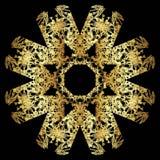 Modèle de dentelle d'or sur un fond noir Images libres de droits