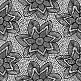 Modèle de dentelle tricoté par noir avec des fleurs illustration libre de droits