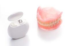 Modèle de dents avec le fil dentaire sur le fond blanc Image libre de droits