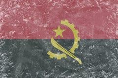 Modèle de drapeau de l'Angola de vintage sur le denim Images stock