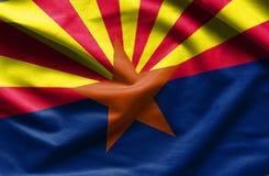 Modèle de drapeau de l'Arizona sur la texture de tissu photos stock