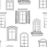 Modèle de fenêtre Style architectural différent de griffonnage de fenêtres Photographie stock libre de droits