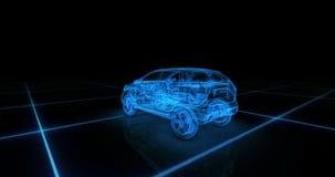 Modèle de fil de voiture de sport avec le fond au néon bleu de noir d'ob Photos stock