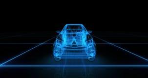 Modèle de fil de voiture de sport avec le fond au néon bleu de noir d'ob Image libre de droits