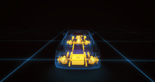 Modèle de fil de voiture de sport avec le fond au néon bleu de noir d'ob Images stock