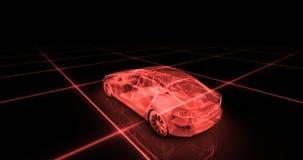 Modèle de fil de voiture de sport avec le fond au néon rouge de noir d'ob Photo libre de droits