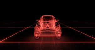 Modèle de fil de voiture de sport avec le fond au néon rouge de noir d'ob Images stock