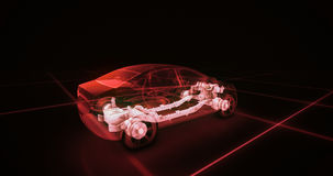 Modèle de fil de voiture de sport avec le fond au néon rouge de noir d'ob Photographie stock