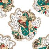 Modèle de filigrane de Mehendi, hindi sans couture et fait main Photos libres de droits
