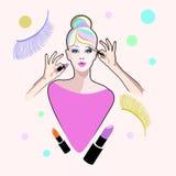 Modèle de fille étonné par portrait abstrait, Images libres de droits