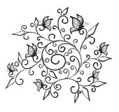 Modèle de fleur avec des papillons Image stock