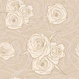 Modèle de fleur beige de vecteur sans couture Illustration Stock