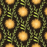Modèle de fleur chaud sur le fond de Brown illustration stock