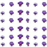 Modèle de fleur pourpre d'aquarelle, fond blanc Photo stock