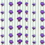 Modèle de fleur pourpre d'aquarelle, fond rayé Images stock