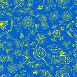 Modèle de fleur sans couture sur background1 bleu illustration stock