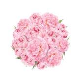 Modèle de fleurs avec des pivoines Bouquet rond des fleurs roses Aquarelle florale Photo libre de droits