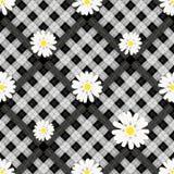 Modèle de fleurs noir et blanc de plaid et de marguerite de tartan sur le fond à carreaux pour le textile illustration de vecteur