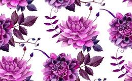 Modèle de fleurs pourpre d'aquarelle Photo stock