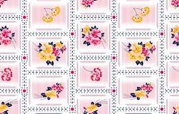 Modèle de fleurs rayé décoratif pour la mode image libre de droits