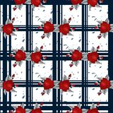 Modèle de fleurs rouge de broderie et modèle sans couture de tartan bleu Bon pour la nappe, tissu, tissu illustration libre de droits