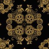 Modèle de fleurs sans couture d'or de dentelle Très élégant photos stock