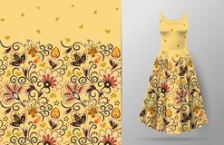 Modèle de fleurs vertical sans couture d'imagination Fond floral d'aspiration de main sur la maquette de robe Vecteur Oriental tr Photo libre de droits