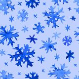 Modèle de flocons de neige d'aquarelle Images libres de droits