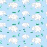 Modèle de fond avec des moutons sur un pré Photos stock
