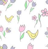 Modèle de fond d'enfant avec des papillons, des fleurs, et l'oiseau Image stock