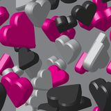 Modèle de Grey Black Pink Hearts Seamless Photographie stock