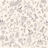 Modèle de griffonnage de fête d'anniversaire illustration de vecteur