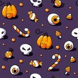 Modèle de Halloween avec les bonbons, le crâne, le globe oculaire, l'amanite et le potiron sur le fond violet Vecteur sans coutur illustration de vecteur