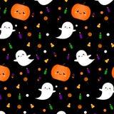 Modèle de Halloween avec les fantômes, le potiron et les symboles mignons dans le style de kawaii Fond de vacances, copie d'embal illustration de vecteur