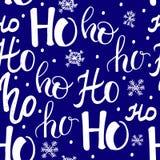 Modèle de Hohoho, rire de Santa Claus Texture sans couture pour la conception de Noël Fond rouge de vecteur avec des mots manuscr Images stock