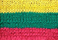 Modèle de jaune, vert et par rouge tricoté Photos libres de droits