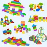Modèle de jouets de construction Lego, briques en bois et figures magnétiques pour les enfants préscolaires Tour de construction, illustration stock