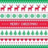 Modèle de Joyeux Noël avec des cerfs communs - style scandynavian de chandail Image libre de droits