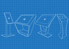 Modèle de kiosque interactif promotionnel de l'information quatre, faisant de la publicité l'affichage, support terminal, afficha illustration libre de droits