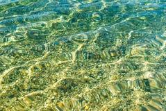 Modèle de l'eau de turquoise sur le sable pebbled par plage Images libres de droits