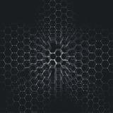Modèle de la chimie 3D, structure hexagonale de molécule sur le noir, recherche médicale scientifique Photos libres de droits