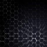 Modèle de la chimie 3D, structure hexagonale de molécule sur le noir, recherche médicale scientifique Médecine, la science et Image libre de droits