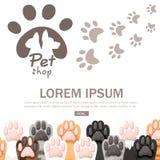 Modèle de la collection différente d'icône de pattes de chat de couleur Ensemble mignon de pied de chat Concept pour le design illustration de vecteur
