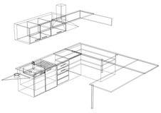 Modèle de la cuisine 3D - d'isolement Image stock