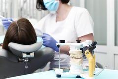 Modèle de la mâchoire dentaire avec des bagues dentaires pour le traitement dentaire photo stock
