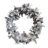 modèle de la ville 3D formé par cercle illustration stock