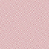 Modèle de labyrinthe de la géométrie d'abrégé sur graphique de vecteur fond géométrique sans couture rouge de labyrinthe Images libres de droits