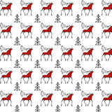 Modèle de Mezen avec des cerfs communs Photos libres de droits