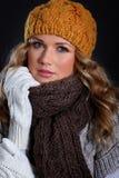 Modèle de mode avec des accessoires de l'hiver Image libre de droits