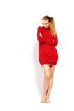 Modèle de mode avec le long cheveu blond. image libre de droits